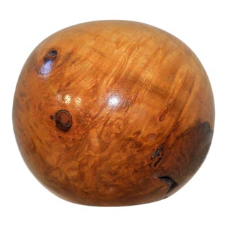 Antique Wood Finial Round Spherical Lacquered Good Grain For Sale