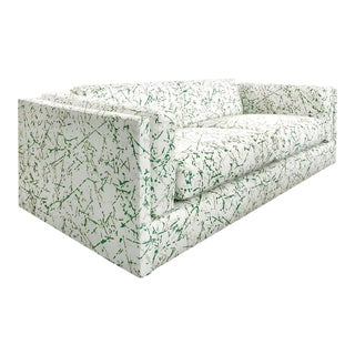 1970s Harvey Probber Sofa in Green Splatter Upholstery For Sale