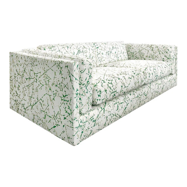 1970s Harvey Probber Sofa in Green Splatter Upholstery For Sale