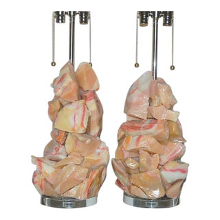 Glass Rock Table Lamps by Swank Lighting Peach Pink For Sale