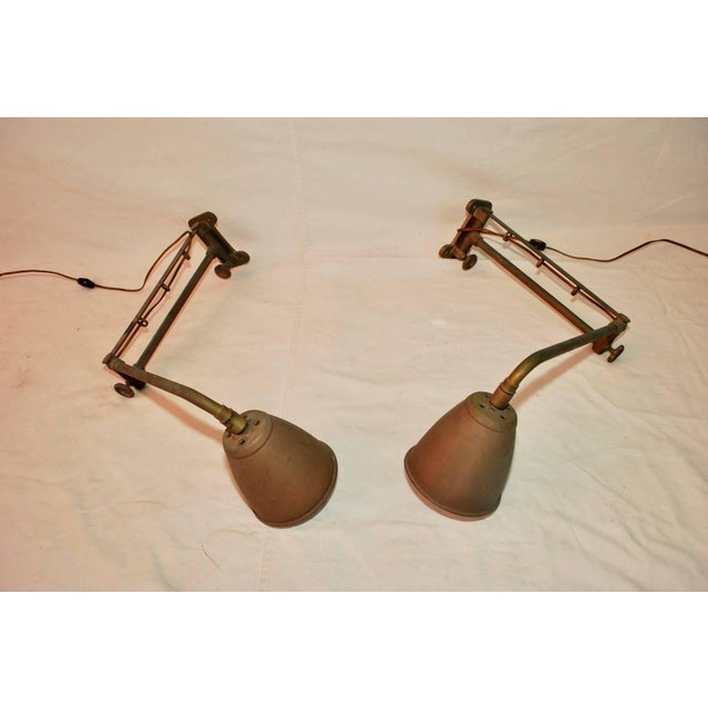 1900 - 1909 Industrial Adjustable Sconces - A Pair For Sale - Image 5 of 6