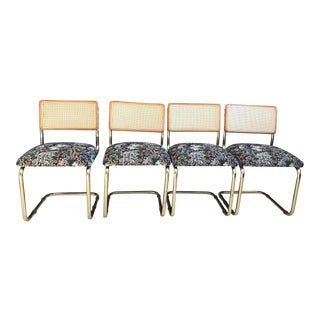 1980's Vintage Brass Marcel Breuer Style Cesca Chairs- Set of 4 For Sale