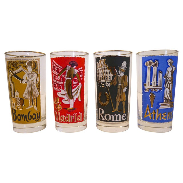 Mid-Century Modern Cities of the World Glasses - Set of 8 For Sale - Image 3 of 4