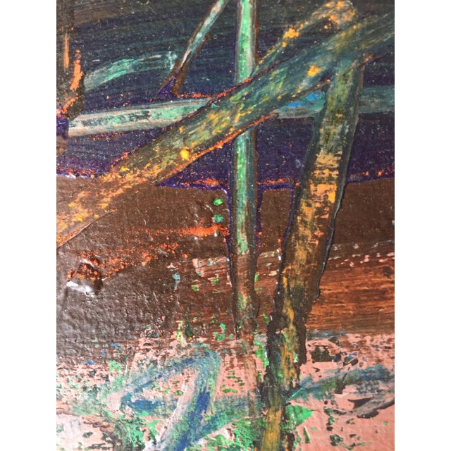 1970s Berkeley Artist Vannie Keightly Mixed Media Abstract Painting - Image 6 of 8