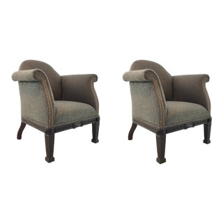 Transitional Ferguson Copland Carved Greek Key Gray Chairs Pair For Sale