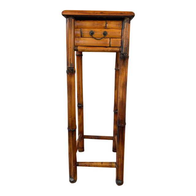 Vintage Burnt Bamboo Vintage Plant Stand With Drawer For Sale