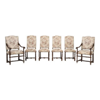 Set of 6 Antique French Barley Twist Dining Chairs For Sale
