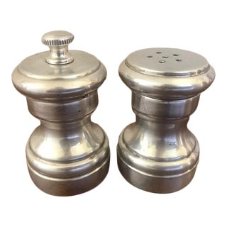 Vintage Sterling Silver & Wood Salt Shaker & Pepper Grinder, Italy - a Pair For Sale