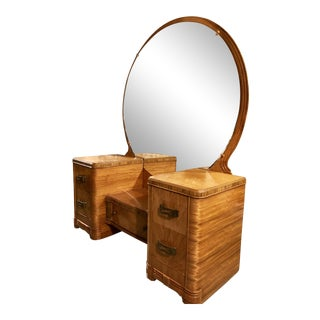 1930's Art Deco Vanity With Framed Round Mirror