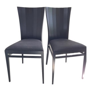 Roche Bobois Black Wood Occasional Dining Chairs - Pair For Sale