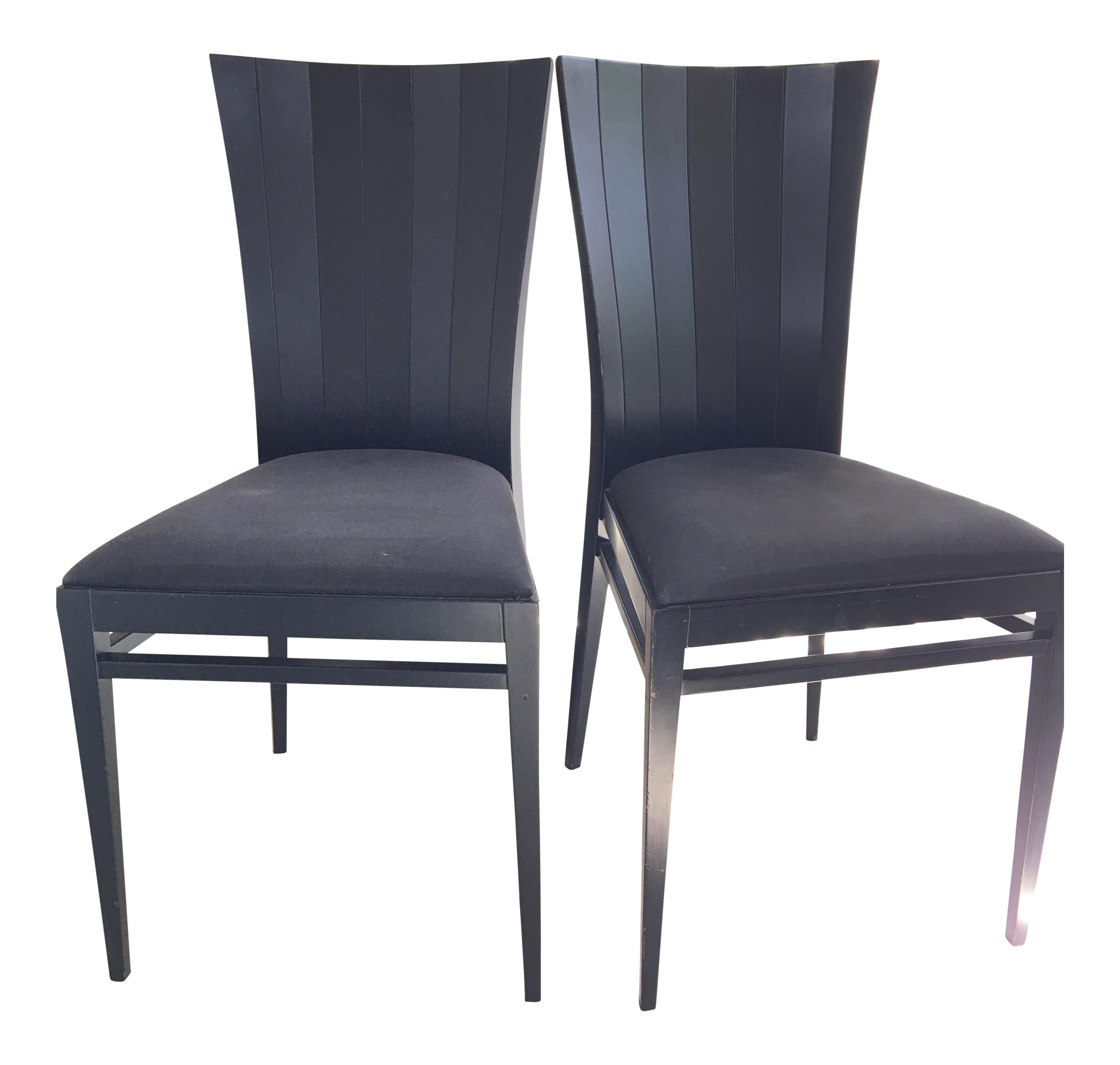Roche Bobois Black Wood Occasional Dining Chairs   Pair For Sale
