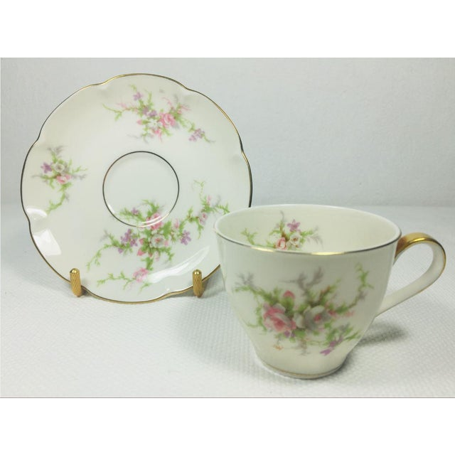 Ceramic 1930s Haviland Rosalinde Demistasse Cups and Saucers Set of 14 For Sale - Image 7 of 12