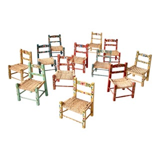 Vintage Mexican Folk Art Chair Collection - Set of 12