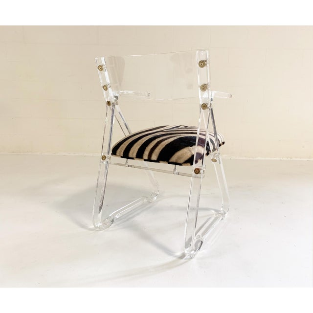 Mid 20th Century Lucite Desk Chair in Zebra Hide For Sale - Image 5 of 7