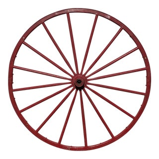 "Antique Red Wooden Wagon Wheel 43"" Diameter 16 Spoke Nice For Sale"