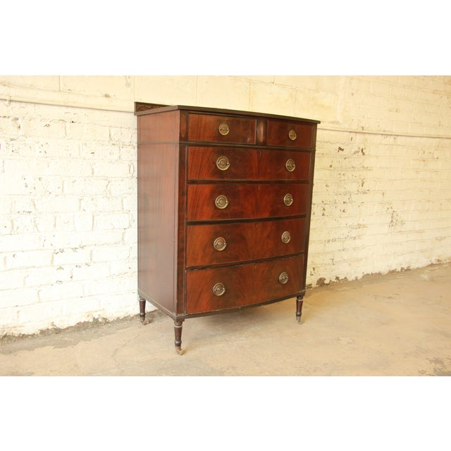Early American Flame Mahogany Highboy Dresser - Image 4 of 9