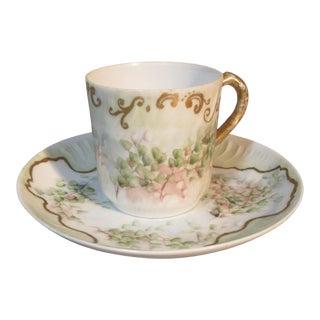 1895 Charles Field Haviland Limoges Hops Blossoms and Gold Demitasse Cup & Saucer For Sale