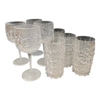 Cracked Ice Lucite Barware - Set of 8 For Sale