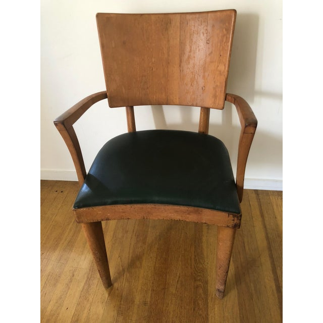 Wood Heywood Wakefield Dark Green Upholstered Birch Arm Chair For Sale - Image 7 of 7
