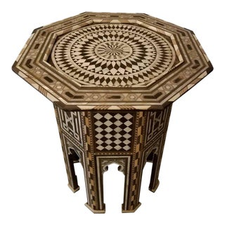 Syrian Mother-Of-Pearl Walnut Wood Side Table