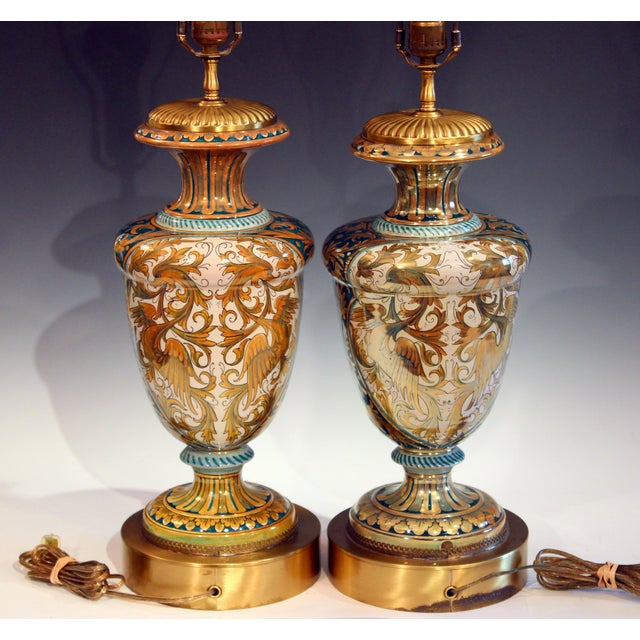 Antique Gualdo Tadino Luster Pottery Italian Majolica Gargoyle Robbia Lamps - a Pair For Sale - Image 4 of 12