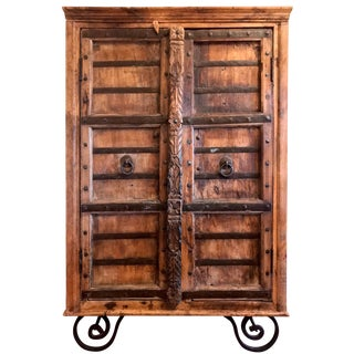 Spanish Colonial Rustic Hand-Carved Wine Rack and Storage With Two Shelves
