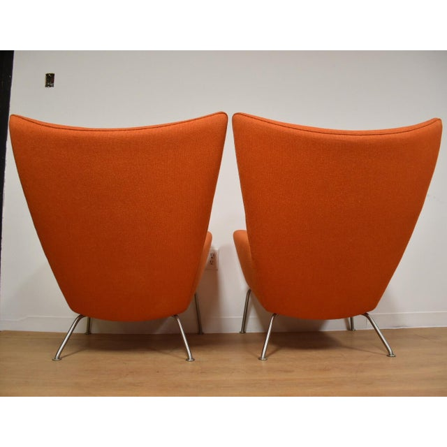 Fabric Hans J. Wegner CH445 Orange Lounge Chairs - a Pair For Sale - Image 7 of 10