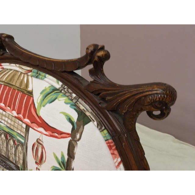 1930s Chinoiserie Carved Pagoda Settee - Image 3 of 9