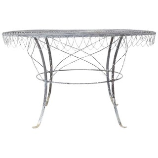 French Wrought Iron and Wire Garden Dining Table For Sale