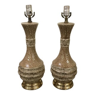 Brown and Gold Ceramic Mid Century Modern Lamps - a Pair For Sale