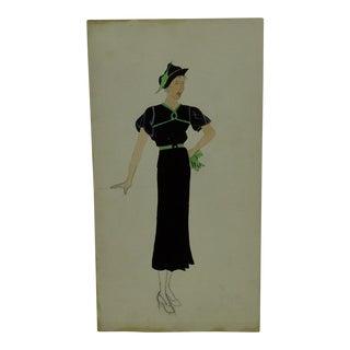 "1930s Mid-Century Modern Fashion Sketch/Drawing, ""Short Sleeve Dress - Belt - Hat"" For Sale"