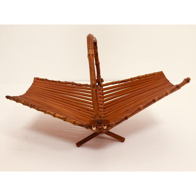 Brown Japanese Mid Century Folding Bamboo Basket With Handle For Sale - Image 8 of 12