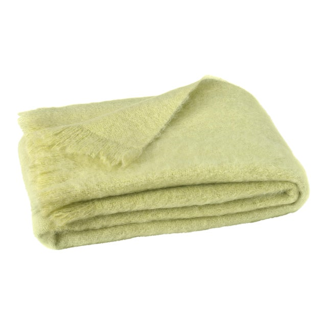 Honeydew Brushed Mohair Throw For Sale