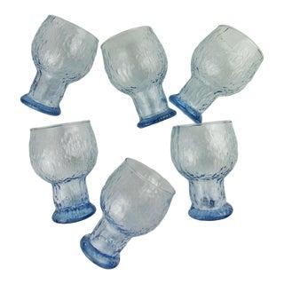 1980s Blue Iittala Kekkerit Style Glasses Goblets - Set of 6 For Sale