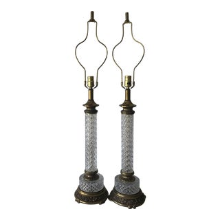 Brass & Crystal Table Lamps - A Pair