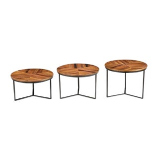 Contemporary Iron & Wood Nesting Tables - Set of 3