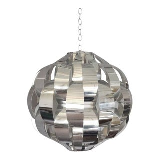 Large Woven Chrome Hanging Pendant Entry Lamp