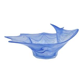 Italian Lavorazione Arte Murano Glass Bowl With Iridescence For Sale