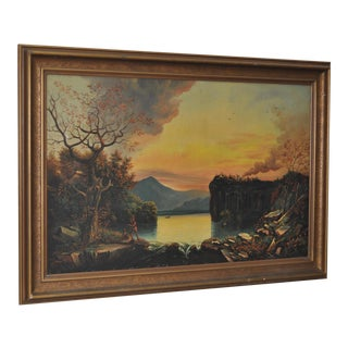 Hudson River School Native American Landscape Oil Painting 19th Century