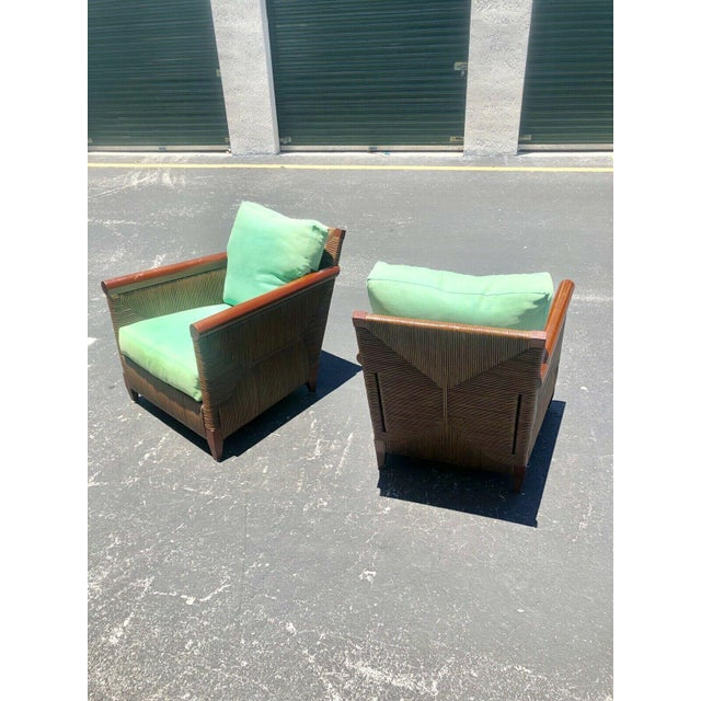 Donghia Donghia Wicker Lounge Chairs by John Hutton - a Pair For Sale - Image 4 of 9