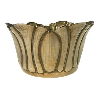 Late 20th Century Ruffled Edge Brass Planter For Sale
