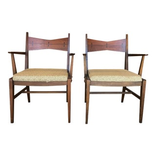Vintage Mid-Century Wood Frame Chairs- A Pair For Sale