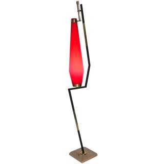 Stilnovo 1950s Vintage Italian Floor Lamp With Vistosi Red Murano Glass Shade For Sale