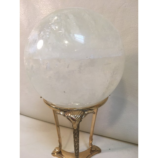 Metal Selenite Orb on Brass Stand For Sale - Image 7 of 9
