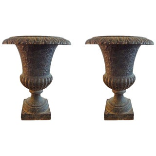 Late 19th Century Antique French Iron Campana Urns - A Pair For Sale
