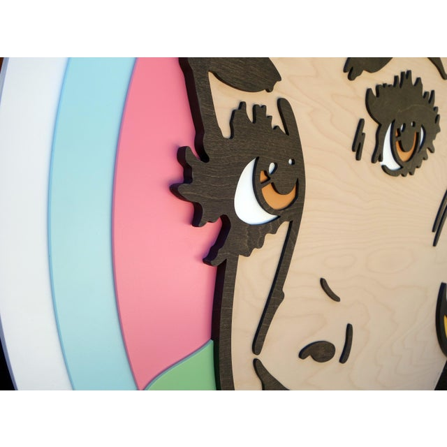 Contemporary Forever and a Day Pop Art Painting on Birch Wood For Sale - Image 3 of 7