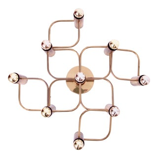 Brass 9 Light Flush Mount Wall or Ceiling Lamp by Leola