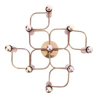 Brass Nine-Light Flush Mount Wall or Ceiling Lamp by Leola For Sale