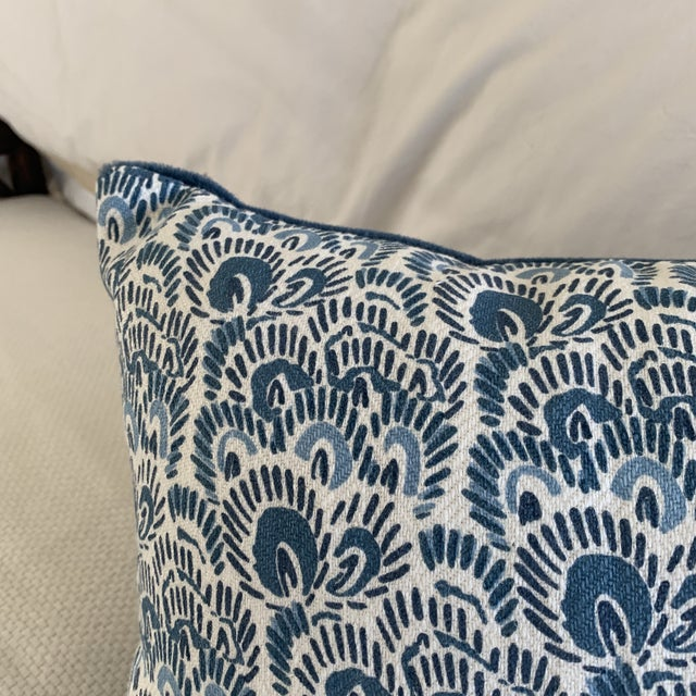 Boho Chic Peter Fasano Blue Linen and Peacock Mohair Lumbar Pillow For Sale - Image 3 of 7