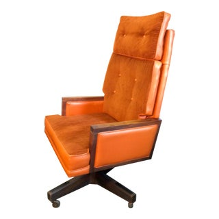 Mid-Century Velour Swivel Executive Office Chair For Sale